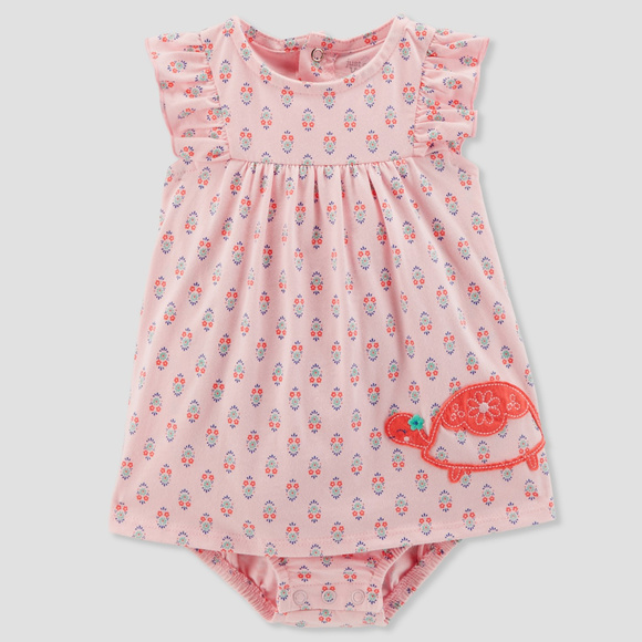 Just One You by Carter's Other - Carters Baby Girl Pink Turtle Sunsuit Romper Dress